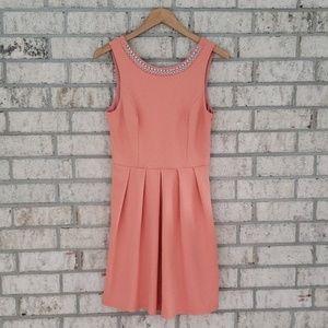 Alya Coral Embellished Neck Dress - Size Medium